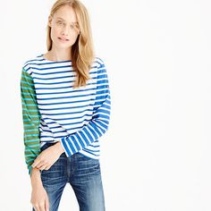 Saint James has been spinning some of the world's finest knits out of its Normandy-based factory since 1889 and has become famous for its Breton shirt, a nautical-inspired style featuring classic stripes. Their 2015 take involves colorblocked sleeves for a fun twist (and you can only find it here). <ul><li>Cotton.</li><li>Machine wash.</li><li>Made in France.</li></ul>