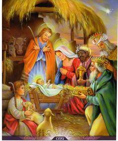 Merry Christmas Gif, Merry Christmas Wallpaper, Christmas Manger, Christmas Nativity Scene, Christmas Scenes, A Christmas Story, Christmas Art, Beautiful Christmas, Vintage Christmas