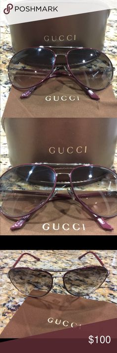 Women's Gucci Aviator Sunglasses GG 1389/S Women's Gucci Aviator Sunglasses GG 1389/S   AUTHENTIC, Preowned Gucci Sunglasses  Mild discoloration to ear piece   Style: Aviator Made In: Italy  Frame Color: Maroon/Burgundy Lens Color: Gradient Gucci Accessories Sunglasses