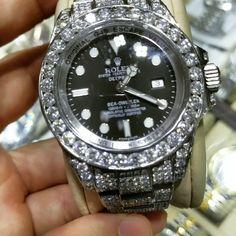 Rolex Watches - Rolex Watches - Custom Made Diamond Mens Rolex Watch Rolex Watches For Men, Seiko Watches, Luxury Watches For Men, Cool Watches, Gold Rolex, Gold Diamond Watches, Rolex Diamond Watch, Men's Rolex, Rolex Submariner