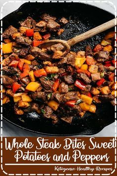 This recipe for steak bites is packed with tons of flavor and huge pops of vitamins thanks to colorful sweet potatoes and bell peppers. It's an easy, approachable weeknight dinner recipe that's ready in under 45 minutes. Whole30 Dinner Recipes, Healthy Eating Recipes, Easy Dinner Recipes, Vegan Recipes, Cooking Recipes, Easy Recipes, Delicious Recipes, Crockpot Recipes, Soup Recipes
