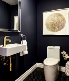 modern powder rooms 31 Inspiring Black Powder Room Design Ideas With Modern Style Powder Room Paint, Black Powder Room, Tiny Powder Rooms, Modern Powder Rooms, Powder Room Decor, Powder Room Design, Gold Powder, Green Powder, Small Room Design
