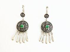 Malachite detail silver earrings