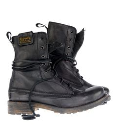 Rugged Black Leather Boots