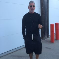 """nickelsonwooster: """" GC said this looks very """"The Prime of Miss Jean Brodie"""". But I stand by my @bywalidlondon leather shorts at the beach. (at Fire Island Pines) """""""