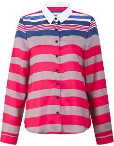 Blusa gasa rayas manga larga-Gris y rojo EUR€17.24