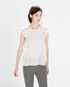 BLOUSE WITH FRILLED SLEEVE AND NECKLACE-Blouses-Tops-WOMAN | ZARA United States