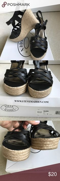 Pretty black strappy wedges Pretty black strappy wedges by Steve Madden. 4 1/2 inch heel. Excellent condition. Only wear is on the bottom. Worn maybe once or twice. Comes with box. Steve Madden Shoes Wedges