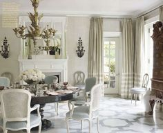 Dining room by Bunny Williams in the Swedish style done in soft...