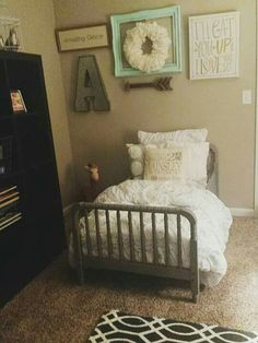Toddler girl room coral mint grey