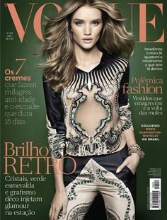 British supermodel Rosie Huntington-Whiteley covers the April '12 issue of Vogue Brazil shot by Henrique Gendre.