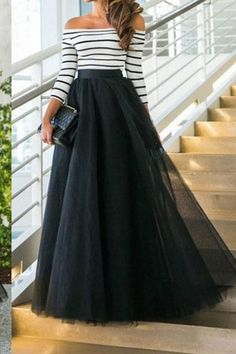 Tulle Dress Tutu Off Shoulder Evening Dresses Long Ball Gowns Sexy Black White … – Casual Dress Outfits Cute Maxi Skirts, Maxi Skirt Outfits, Dress Skirt, Dress Up, Midi Skirts, Tulle Skirts, Tulle Dress, Long Skirts, Dress Long