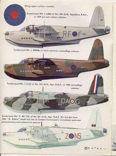 1938-1959 Short S.25 Sunderland. Flying Boat Bomber. RAF, RNZAF, RAAF, FN. Engine: 4 x Bristol Pegasus XVIII nine cylinder radial engines (1,065 hp) Armament: 16 x .303 Browning machine guns, 2 x .5 in machine guns. Max speed: 210 mph (336 km/h)
