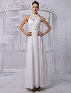 A-line/Princess Scoop Neck Floor-Length Chiffon Lace Wedding Dress With Beading Sequins-No.3