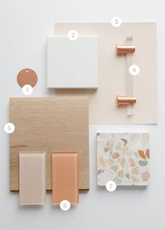 Bathroom Organization 382665299593148686 - Lumiere Cabinet Pull in Brushed Rose Gold finish from Schaub and Company featured on Architectural Digest and Oh Joy! Diy Bathroom, Bathroom Interior, Remodel Bathroom, Bathroom Things, Small Bathroom, Pink Tiles, Material Board, Farmhouse Side Table, Modern Farmhouse