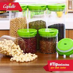 #TipdeCocina la mejor forma de almacenar granos es en frascos de vidrio limpios y secos; si los dejas en la bolsa en donde vienen después de abrirlos y usar un poco perderán su frescura y reducirás su vida útil.