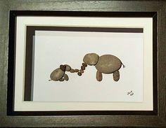 Mommy and Baby Elephant Pebble Art