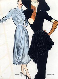 Jean Dessès (Couture) 1947 Christian Dior, René Gruau ~Via Patricia Salençon