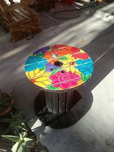 Wooden Spool Tables-My creations at the Rustic Sal Wooden Spool Tables, Cable Spool Tables, Wooden Cable Spools, Wood Spool, Wooden Pallet Furniture, Wooden Pallets, Repurposed Furniture, Painted Furniture, Painted Wood