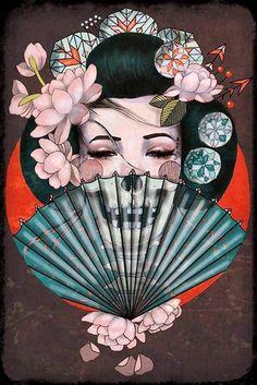 Gueisha (Skeleton of Skull) Fine Art by Amy Dowell (Geaatelier