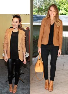 "Inspiration: Getty Images via Popsugar    It really doesn't get any easier than ""see an idea, copy it."" I'm all about  whatever is quick and will get me dressed and out the door in a flash.  Today's Lauren Conrad re-creation proves that sometimes (when the stars  align and you have similar items in your closet) it's really that simple!   Blazer: J.Crew Factory, $83 (similar, similar)"