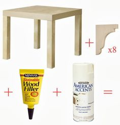 Little Green Notebook: Lack Hack Add corbels to IKEA lack side table Ikea Lack Hack, Hacks Ikea, Ikea Furniture, Furniture Projects, Furniture Makeover, Ikea Makeover, Laquer Une Table, Ikea Lack Side Table, Side Tables