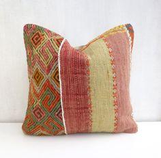 Rustic Kilim Pillow case with Large stripes, 40cm / 16'