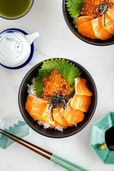 Light, refreshing, and tasty, Salmon Sashimi Bowl (Donburi) with Ikura is easy to put together and satisfy your sushi craving! #salmon #sashimi #sushi #ikura | Easy Japanese Recipes at JustOneCookbook Sushi Recipes, Seafood Recipes, Asian Recipes, Ethnic Recipes, Easy Recipes, Asian Foods, Drink Recipes, Free Recipes, Dinner Recipes
