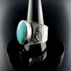 Sterling Silver and Turquoise Large Eagle Signet Ring carved by Chris Cook from the Kwakiutl Nation