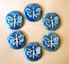 6 Handmade Ceramic Buttons - Butterfly Buttons in Rustic denim glaze over Brown Stoneware