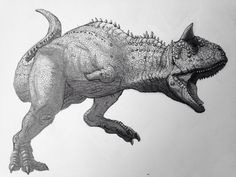 """Carnotaurus"" Pencil and ink."