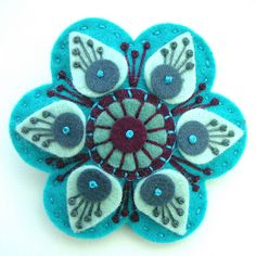 STARGAZER FELT BROOCH WITH FREEFORM EMBROIDERY by APPLIQUE-designedbyjane, via Flickr