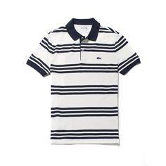 LACOSTE Men's Regular Fit Lacoste Striped Piqué Polo Shirt - flour/flour-navy blue. #lacoste #cloth #