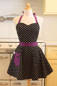 Retro Apron Polka Dot Black White Purple BELLA Full by Boojiboo, $28.75