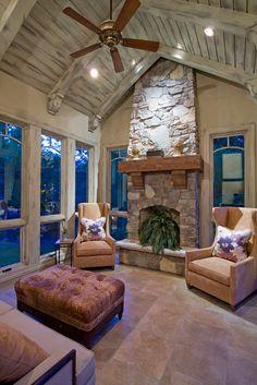 Rustic Sunroom, Sunroom Windows, Fireplace Windows, Tall Fireplace, Country Fireplace, Fireplace Mantles, Stone Fireplaces, Outdoor Fireplaces, Large Windows