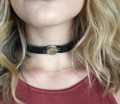 Boho black leather choker gold druzy gold chain by PinkBliss