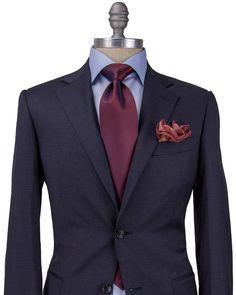 Canali | Navy and Bordeaux Check Suit | ApparelMen's Gifts | Men's