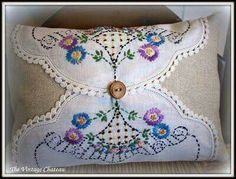 Pillow made with Vintage Doilies! Such a pretty way to use Grandma's doilies Pillow made with Vintage Doilies! Such a pretty way to use Grandma's doilies Doilies Crafts, Fabric Crafts, Sewing Crafts, Sewing Projects, Cork Crafts, Diy Crafts, Vintage Embroidery, Embroidery Patterns, Hand Embroidery