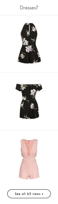 """""""Dresses♥"""" by daisy-111 ❤ liked on Polyvore featuring jumpsuits, rompers, black, playsuit romper, flower print romper, floral romper, floral rompers, floral print romper, topshop rompers and romper"""