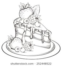 Imágenes similares, fotos y vectores de stock sobre Hand drawn slice of Cake with icing and Berry. Art Drawings Sketches Simple, Pencil Art Drawings, Easy Drawings, Cake Drawing, Cake Illustration, Cute Doodle Art, Marker Art, Art Sketchbook, Graphics Vintage