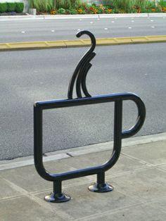 Creative and funny bicycle racks 07 - tazza caffé coffee cup