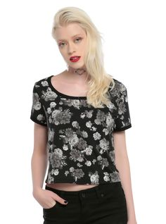 Black & Grey Floral Girls Crop Top | Hot Topic