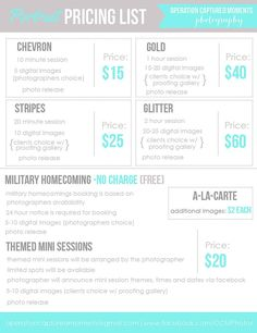 Photo Packages Price List  Photography Price List By Packages