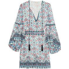 Talitha Embroidered silk-georgette mini dress (€750) ❤ liked on Polyvore featuring dresses, blue print dress, print dresses, bell sleeve mini dress, short boho dress and blue dress