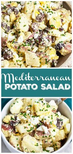 This Mediterranean Potato Salad makes a great easy and healthy side dish for summer! It's perfect to serve at a BBQ or picnic. This recipe is loaded with red potatoes, hard boiled eggs, Kalamata olives, and feta cheese. It's tossed in a creamy lemon dressing and topped with fresh herbs. This homemade potato salad is perfect served with grilled meats like chicken. It's fresh and simple. This recipe is vegetarian and gluten free. Ingredients For Potato Salad, Homemade Potato Salads, Creamy Potato Salad, Potato Recipes, Potato Dishes, Savoury Dishes, Best Side Dishes, Healthy Side Dishes, Side Dish Recipes