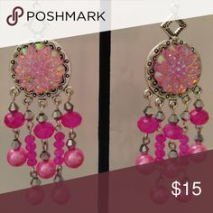 Hotpink glass pearl Crystal chandelier earrings These are beautiful hotpink Crystal earrings created by Pamela May. They measure 3.75 inches from top of earwire to the longest dangle. They are lightweight. Pamela May Collection Jewelry Earrings
