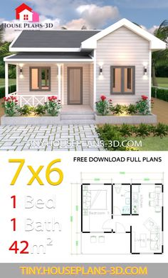 Small House Design Plans with One Bedroom Gable Roof - Tiny House Plans Guest House Plans, 2 Bedroom House Plans, Simple House Plans, Tiny House Plans, House Floor Plans, Tiny Guest House, Bungalow House Design, Small House Design, Small Lake Houses