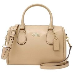 Pre-owned Nude Coach Bennett Satchel featuring polyvore, fashion, bags, handbags, nude, crossbody satchel handbags, crossbody purse, pre owned handbags, coach crossbody and coach bags