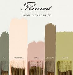 The 5 shades Flamant 2016 Les 5 teintes Flamant 2016 Both authentic and contemporary discover the 5 new shades 2016 Flamant by Tollens Colour Pallete, Colour Schemes, Color Combos, Wall Colors, House Colors, Colours, Decoration Palette, Sheila E, Bohemian Bedroom Decor