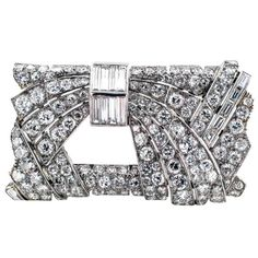 Art Deco French Diamond Platinum Rectangular Brooch | From a unique collection of vintage brooches at https://www.1stdibs.com/jewelry/brooches/brooches/